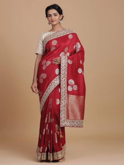 Gorgeous Red Saree In Silk