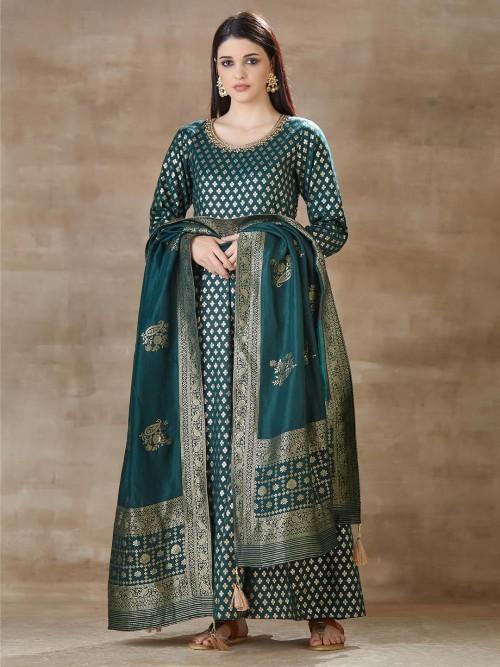 Green Anarkali Designer Cotton Silk Salwar Suit For Wedding