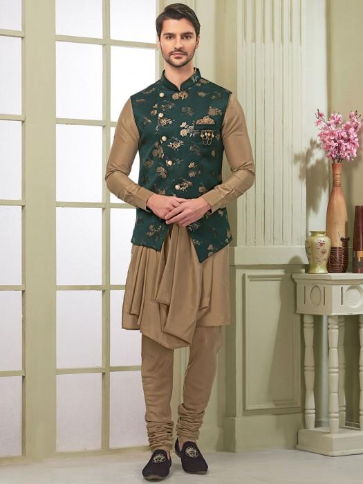 Green And Beige Cotton Silk Fabric Waistcoat Set