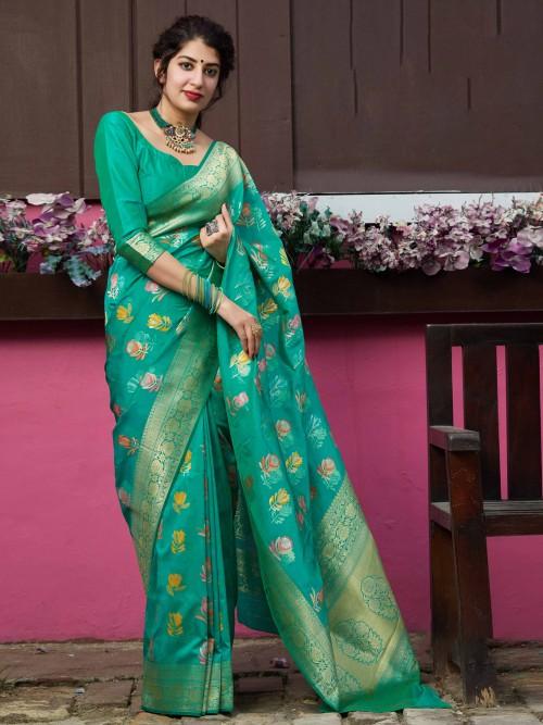 Green Banarasi Silk Saree For Beautiful Womens