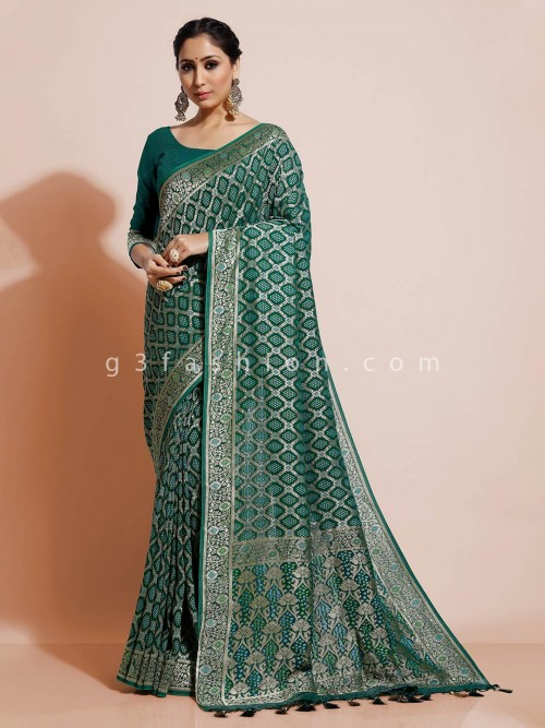 Green Bandhej Ggorgette Wedding Saree