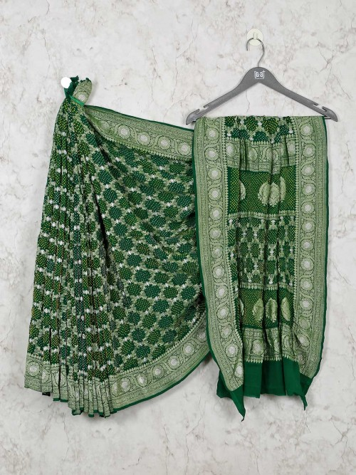 Green Bandhej Wedding Designer Saree