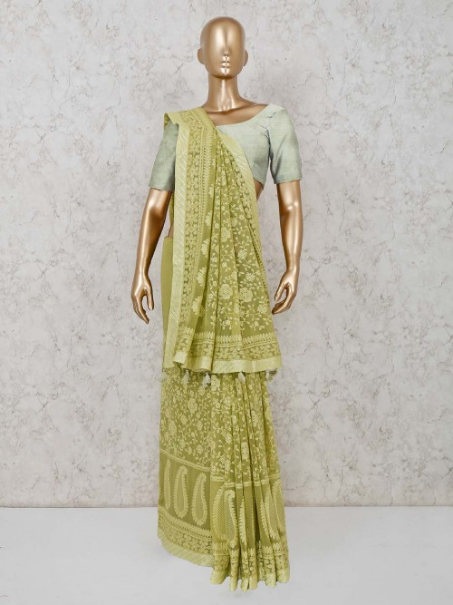 Green Colored Lucknowi Saree In Georgette