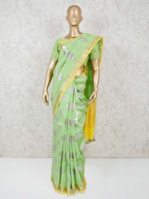 Green Cotton Festive Ready Made Blouse Saree
