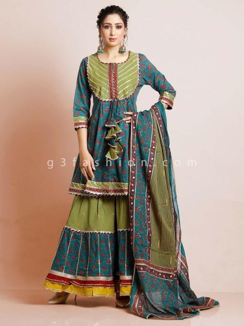 Green Cotton Punjabi Sharara Suit In Printed Style