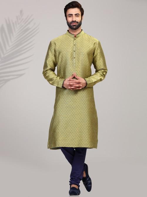 Green Cotton Silk Festive Occasion Printed Kurta Suit
