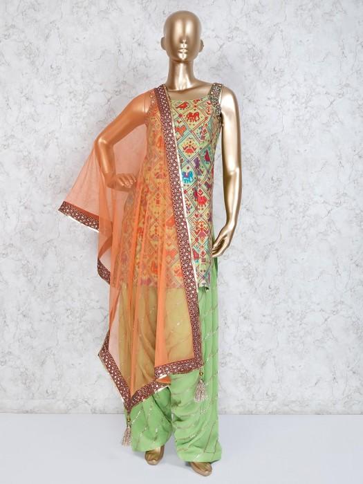 Green Cotton Silk Punjabi Suit For Festive