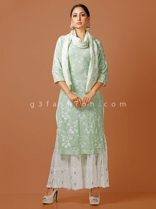 Green Cotton Thread Woven Punjabi Sharara Suit