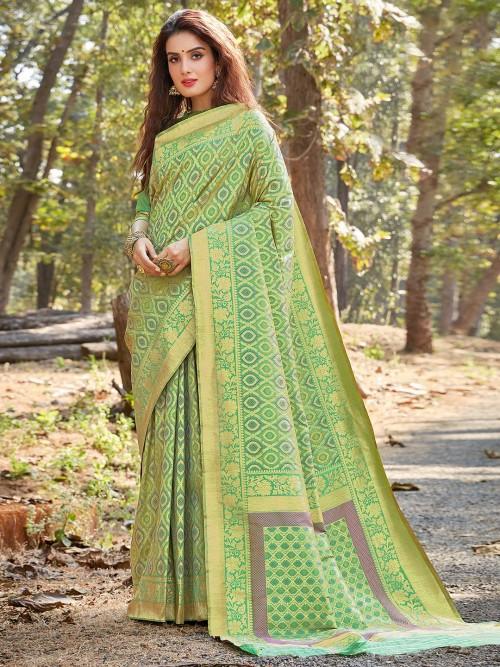 Green Designer Wedding Wear Banarasi Silk Saree