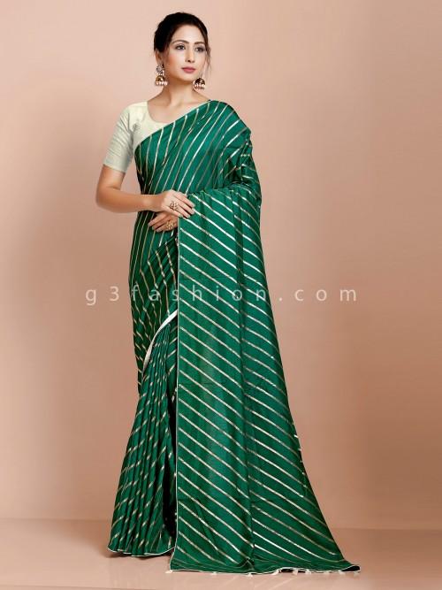 Green Dola Silk Saree Design For Festival