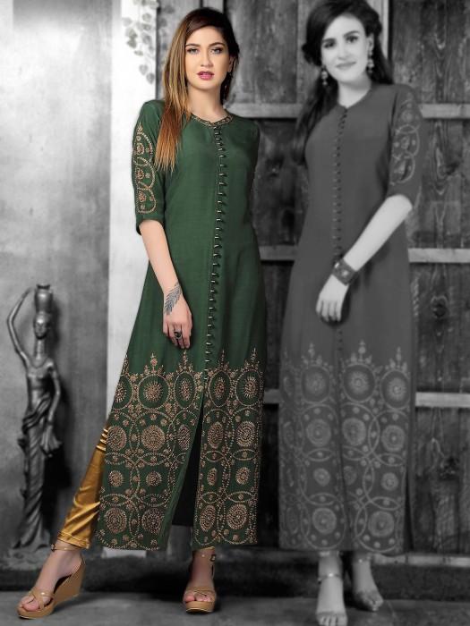 Green Festive Wear Cotton Silk Kurti