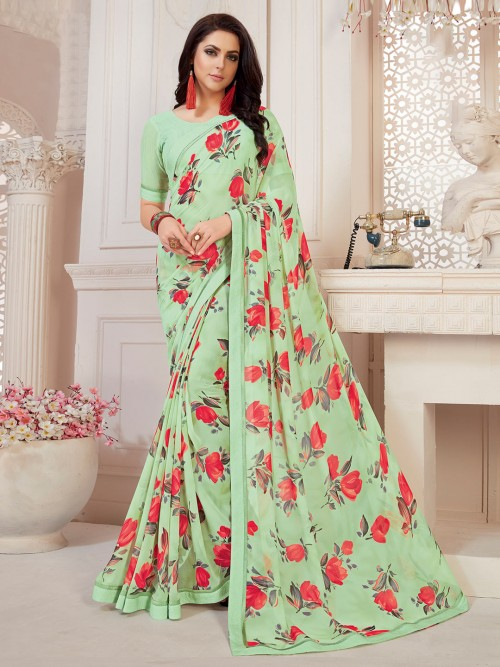 Green Floral Printed Saree In Georgette For Festivals