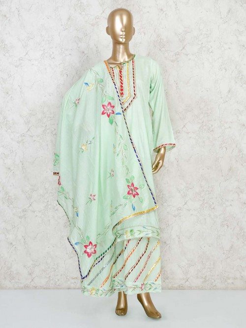 Green Full Sleeve Salwar Suit In Cotton