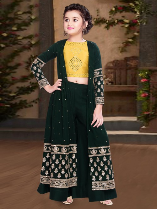 Green Georgette Festive Wear Girls Palazzo Suit