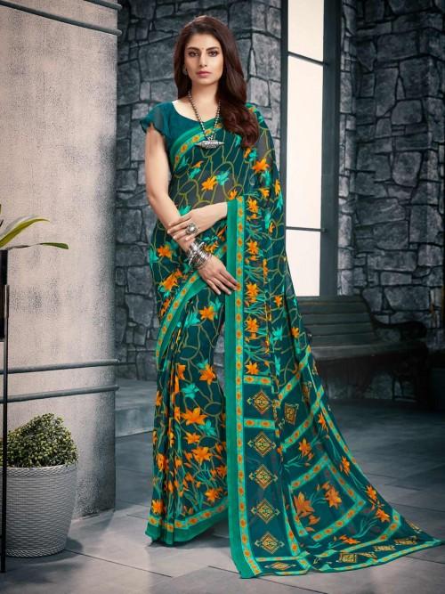 Green Georgette Festive Wear Printed Saree