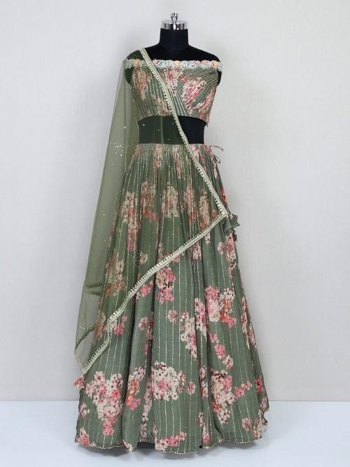 Green Georgette Lehenga Choli Design