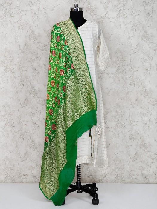 Green Georgette Pretty Bandhej Dupatta