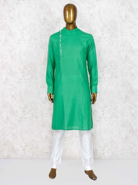 Green Hue Bandhgala Style Kurta Suit