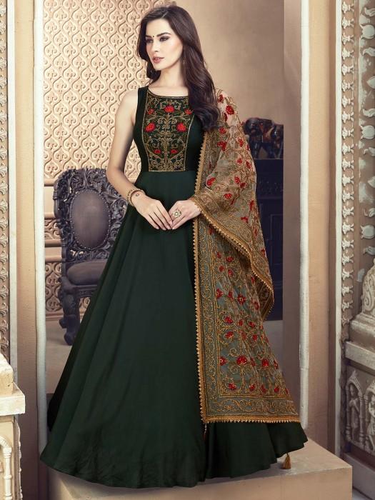 Green Hue Cotton Silk Fabric Floor Length Anarkali Salwar Suit