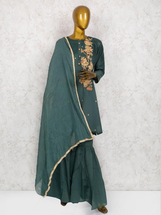 Green Hue Cotton Silk Sharara Suit