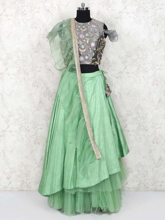 Green Hue Jute Silk Party Lehenga Choli