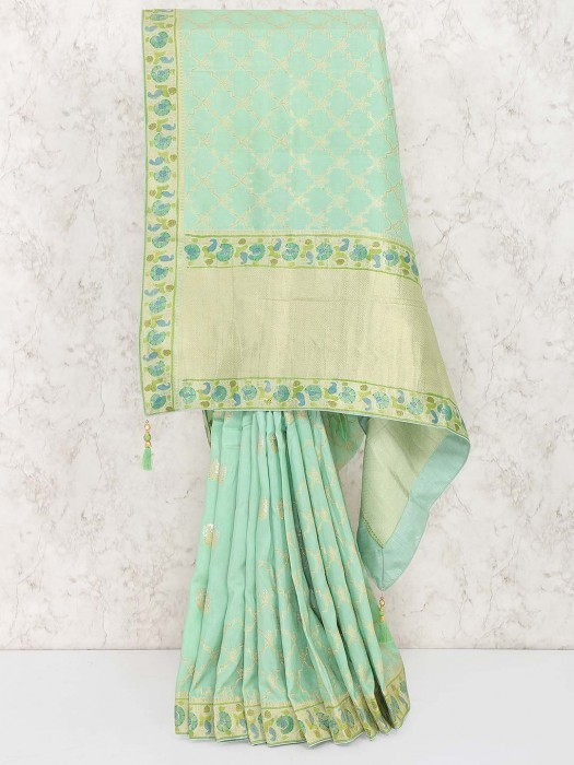 Green Hue Pretty Saree In Muga Silk