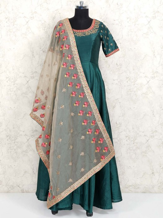 Green Hue Raw Silk Floor Length Anarkali Salwar Kameez