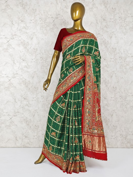 Green Hue Silk Bridal Wear Saree