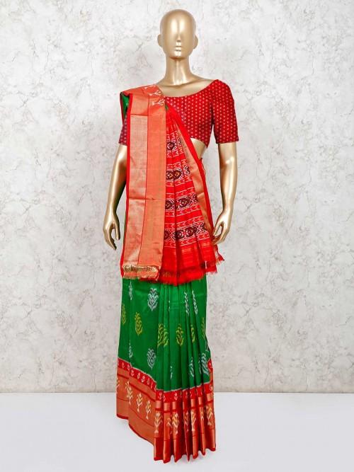 Green Hydrabadi Patola Silk Saree For Wedding Function