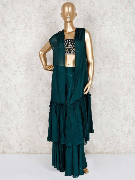 Green Jacket Style Crop Top Sharara Suit In Georgette