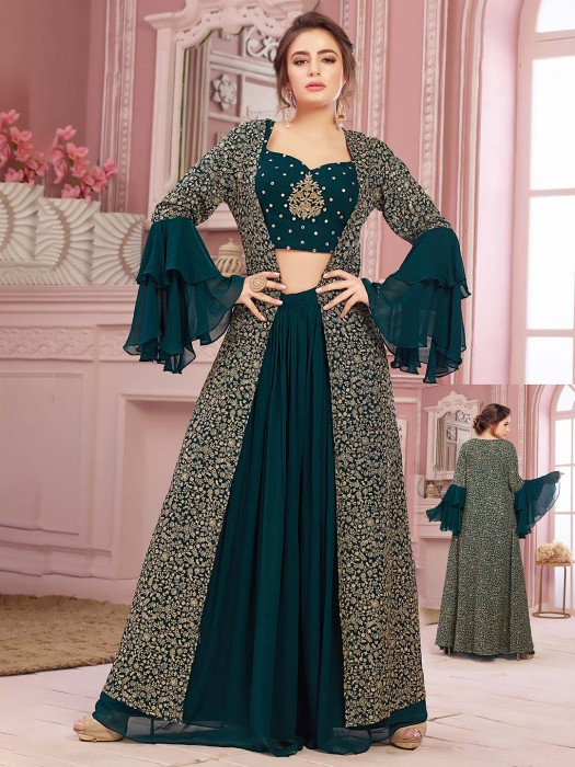 Green Lehenga In Georgette With Crop Top And Long Jacket