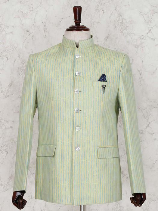 Green Linen Party Wear Jodhpuri Suit