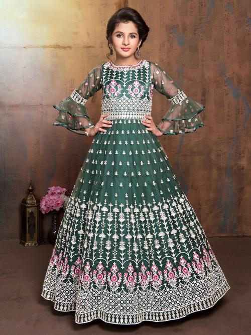 Green Net Wedding Designer Anarkali Suit