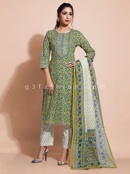 Green Pant Style Salwar Suit Design For Festivals