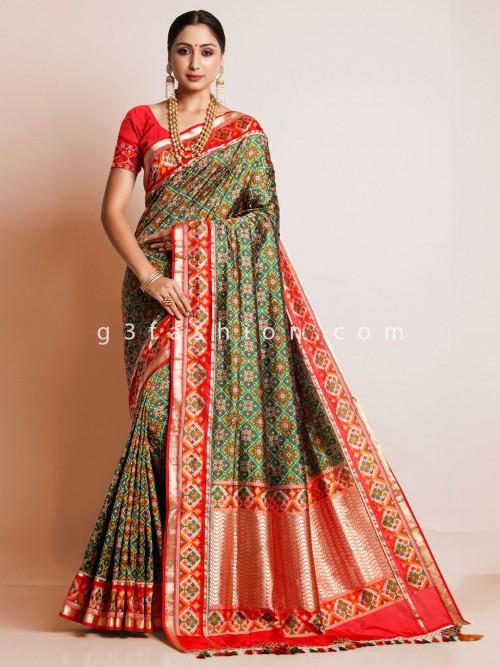 Green Patola Silk Wedding Wear Designer Saree