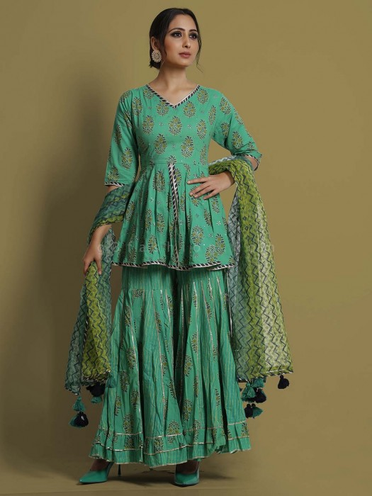 Green Printed Cotton Exclusive Sharara Suit