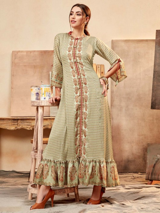 Green Printed Cotton Silk Festive Kurti