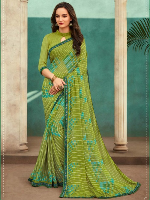 Green Printed Saree For Festival In Georgette