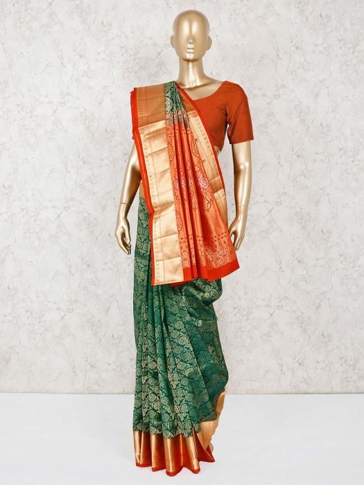 Green Pure South Silk Wedding Saree