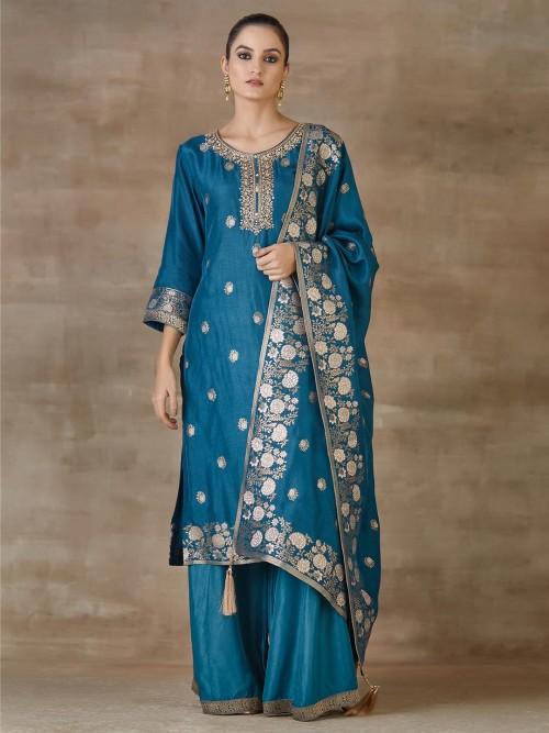 Green Sharara Festival Wear Salwar Suits In Cotton Silk