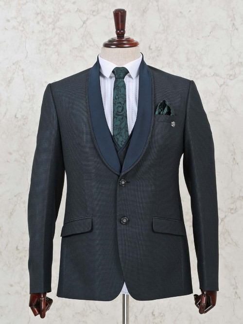 Green Solid Terry Rayon Three Piece Coat Suit