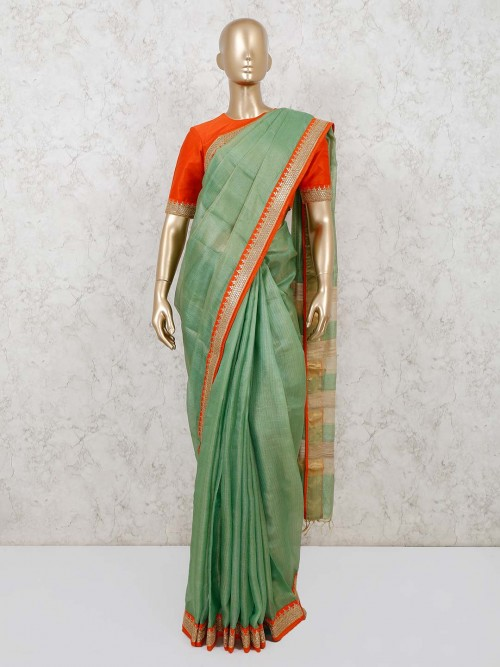 Green Supernet Cotton Saree For Festivals With Readymade Blouse