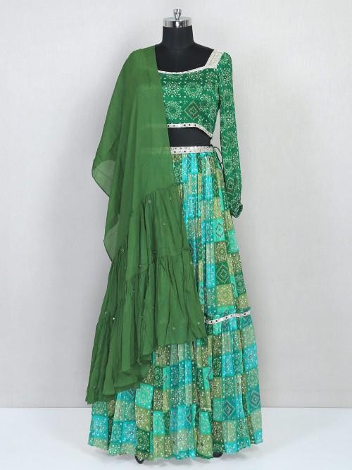 Green Wedding Wear Lehenga In Georgette