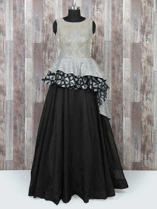 Grey And Black Color Designer Gown