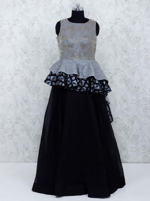 Grey And Black Color Designer Gown
