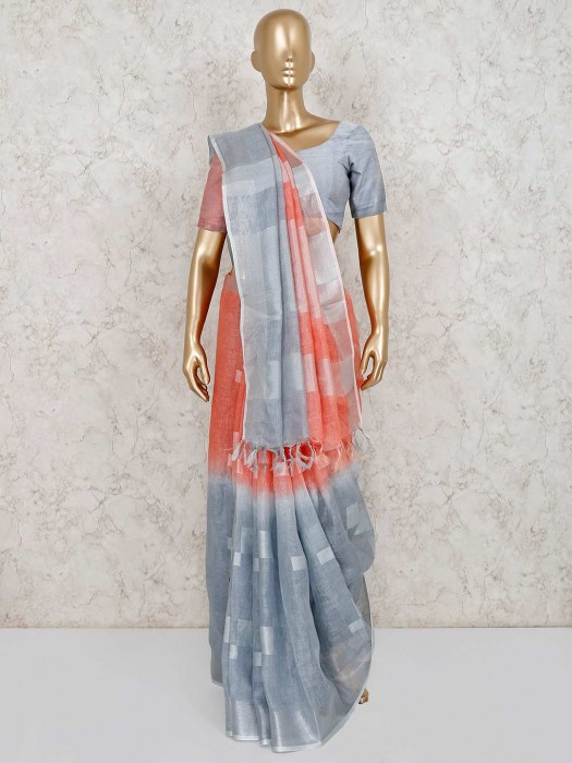 Grey And Peach Shaded Festive Saree In Linen
