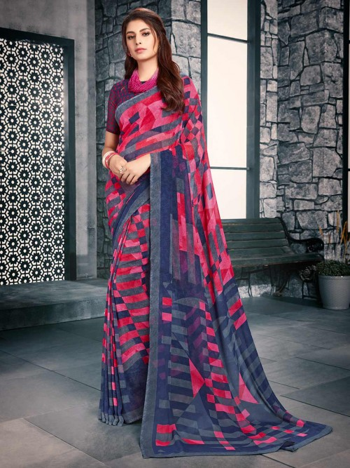 Grey And Pink Printed Saree In Georgette