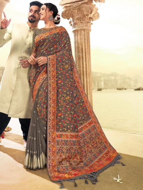 Grey Banarasi Silk Saree For Wedding Function