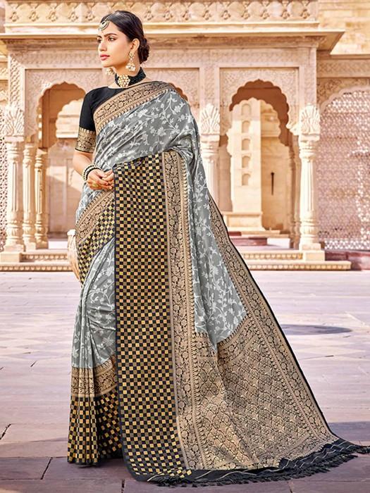 Grey Banarasi Silk Saree In Reception