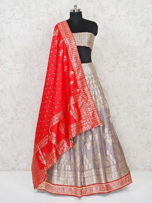 Grey Banarasi Silk Semi Stitched Lehenga Choli For Wedding